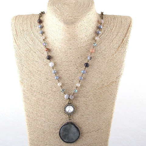 Natural Agate Chrysanthemum & Obsidian Necklace