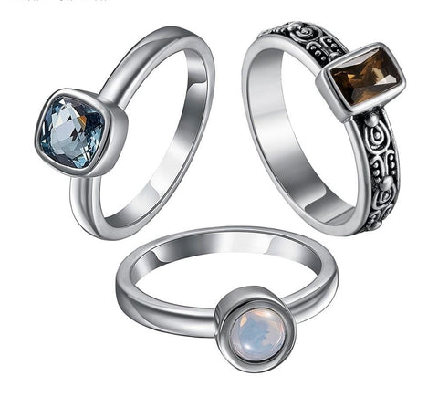 Stackable Gemstone Solitaire Rings