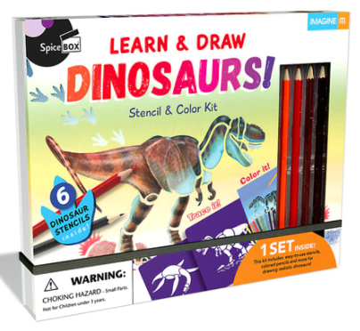 SPICE BOX II DINOSAUR BOOK & STENCIL SET