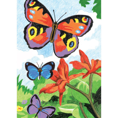 COLOR PENCIL BY NUMBER BRIGHT BUTTERFLIES