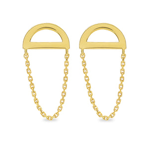 Catalina Crescent Chain Stud Earrings - Evertess Jewelry