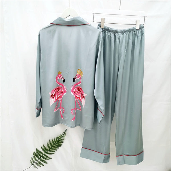 Flamingo satin pajamas