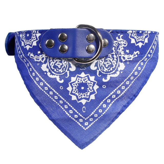 Dog Bandana Collar Adjustable PU leather
