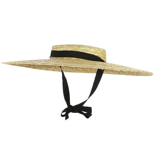 Large Brim Straw Summer Hat with Ribbon