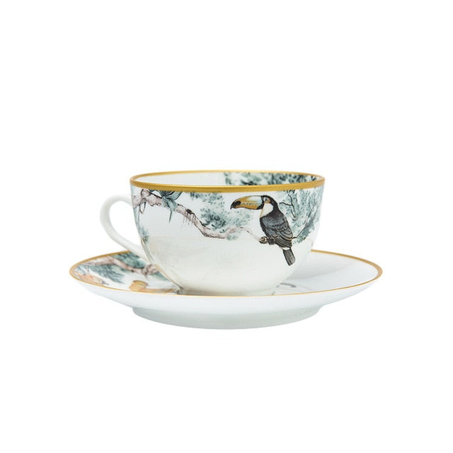 Tropical Toucan Print Ceramic China Tea Set