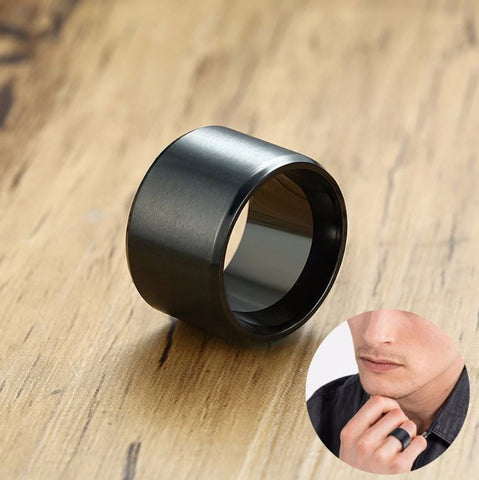 15mm Black Round Ring - Thebuyspot.com