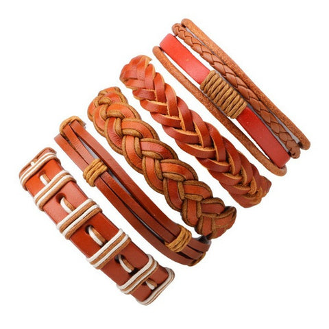 Orange Multilayer Men's Leather Bracelets - Thebuyspot.com