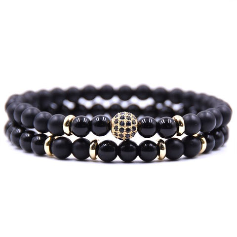 2pc Sets Black Beads Natural Stone Bracelets - Thebuyspot.com