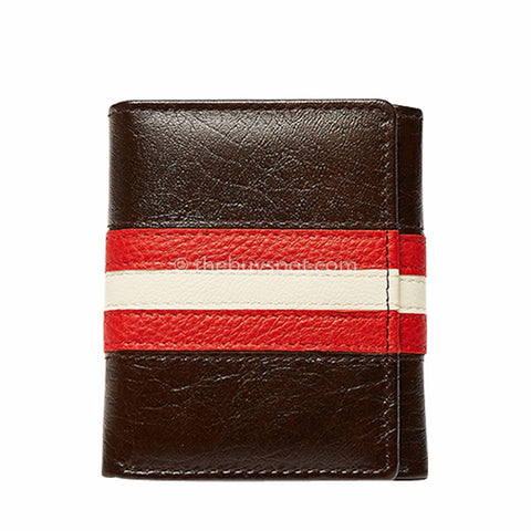 Brown Leather Billfold Wallet Red & white stripe Wallet - Thebuyspot.com