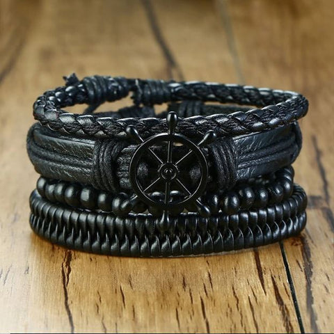 Black Anchor Rope Beads Bracelet - Thebuyspot.com