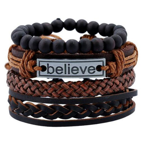 Black Beads Believe Leather Bracelet - Thebuyspot.com