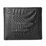 Black Crocodile Pattern Men's Bifold Leather Wallets