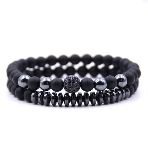 Black Matte 6mm Men Stone Beads Bracelet 2Pc Set - Thebuyspot.com