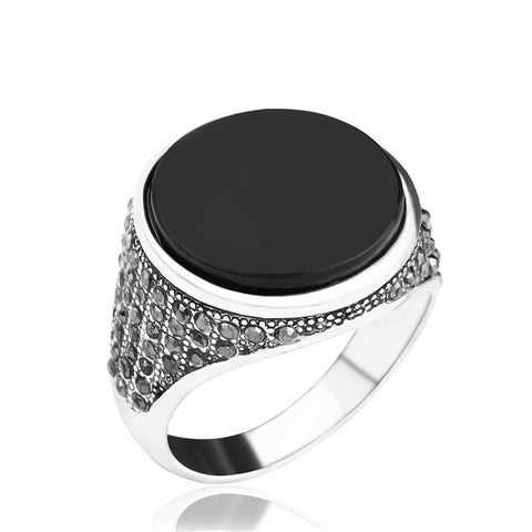 Black Oval Resin Charm Ring - Thebuyspot.com