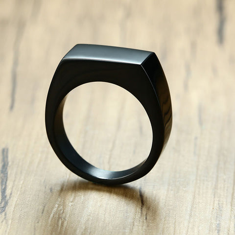 Black Rectangle Male Signet Finger Ring - Thebuyspot.com