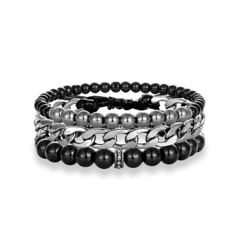 Black chain charm beaded bracelet - Thebuyspot.com