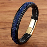 Blue Braid Gold Magnet Leather Bracelet