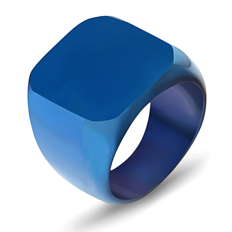 Blue Square Titanium Stainless Steel Finger Ring - Thebuyspot.com