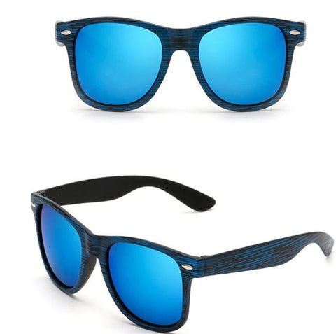 Blue Wood Grain Retro Sunglasses - Thebuyspot.com