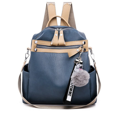 Blue Leather Anti-Theft Backpacks High Quality with Metal Lock Bag - Thebuyspot.com