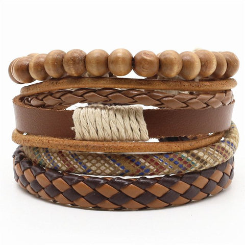 Brown Beads Leather Rope Bracelet - Thebuyspot.com
