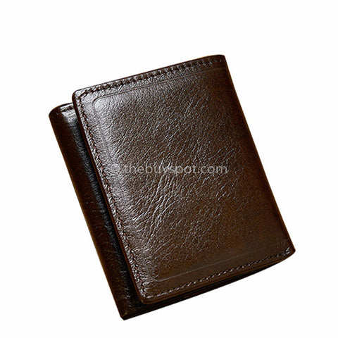 Man Leather Brown Cowhide Billfold Design Wallets - Thebuyspot.com