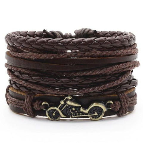 Brown Motorcycle Gecko Alloy Leather Bracelet - Thebuyspot.com