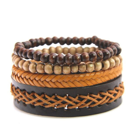 Brown Rock Style Wristband Beads Leather bracelet - Thebuyspot.com