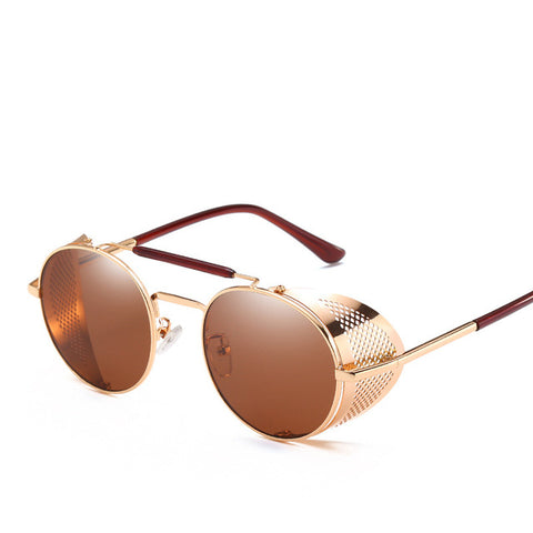 Brown Shade Retro Round Metal Steampunk Sunglasses - Thebuyspot.com