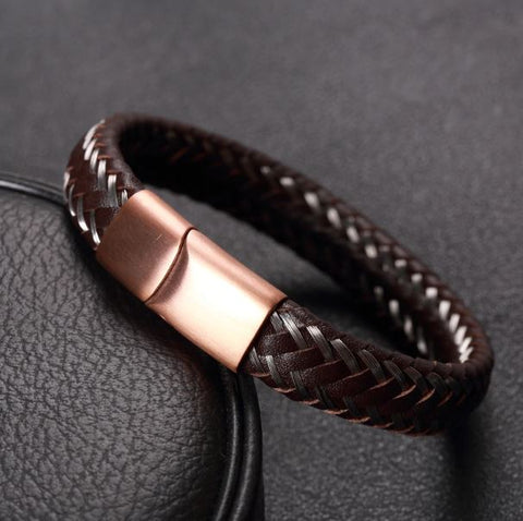 Brown Wire Rope Braid Leather Bracelet - Thebuyspot.com