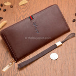 Brown Zipper Men Long Wallets