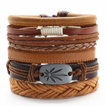 Brown 5Pcs set Woven Leaf Feather-Star Leather Bracelets