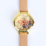 CAMEL BROWN STRAP GOLDEN DIAL 1270   WOMEN WATCH