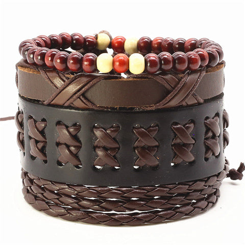 Dark Brown Rope Leather Bracelet - Thebuyspot.com