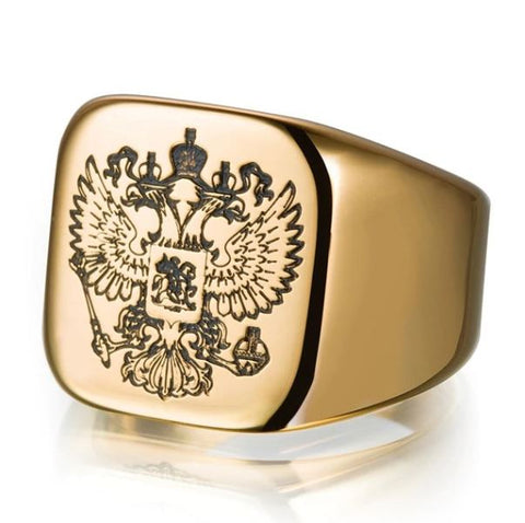 Eagle Etching Golden Ring - Thebuyspot.com