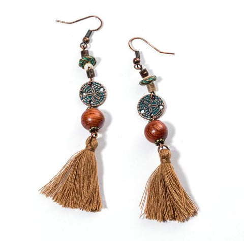 Ethnic Tassel Charm E20214 Earrings - Thebuyspot.com