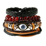 Eye Beaded Leather Bracelet With Rope Style Wrist Band - Thebuyspot.com