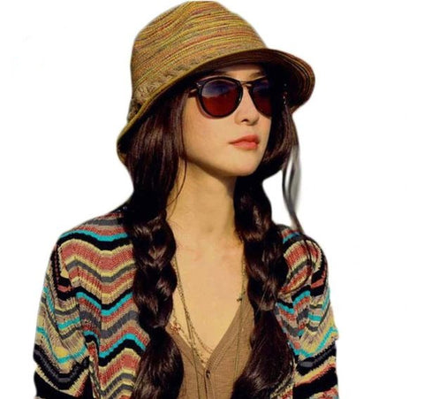 Foldable Striped Summer Fashion Hat - Thebuyspot.com
