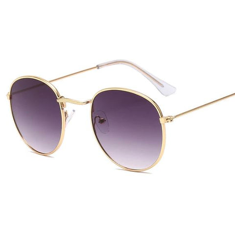 Gold Gradient Gray Round Sunglasses - Thebuyspot.com