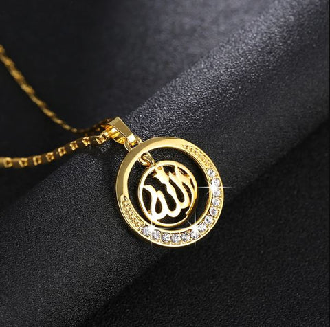 Golden Allah Women Round Necklace - Thebuyspot.com