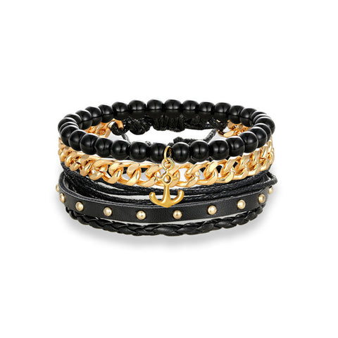 Golden Anchor Beaded Charm 3PCS Multi-layer Chain Bracelet - Thebuyspot.com
