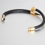 Golden Nail Magnetic black Leather bracelet