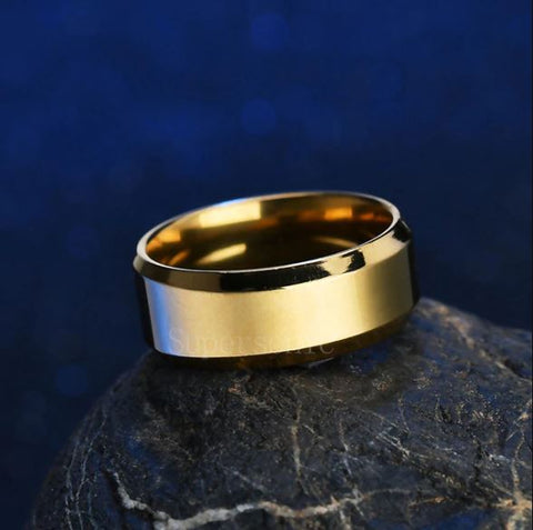 Golden Round Stainless Steel Ring - Thebuyspot.com