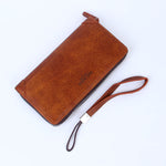 Long Leather Zipper Wallet Brown