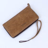 Long Zipper Leather Wallet Beige