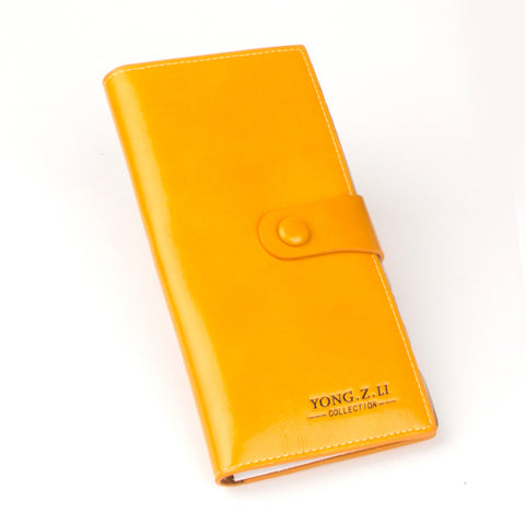 Yellow Long Oil Leather Ladies Wallet - Thebuyspot.com