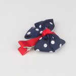 Girls Cute Hair Clips Blue Big Bow Dot Hairpins - Thebuyspot.com