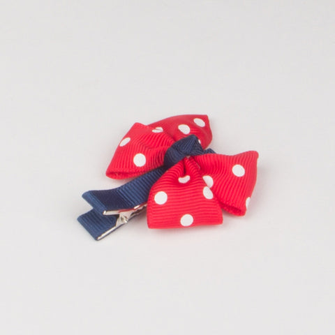 Girls Cute Hair Clips Red Big Bow Dot Hairpins - Thebuyspot.com