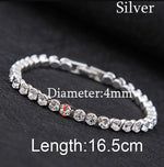 Iced Out Chain Cubic Zirconia Crystal Wedding Silver Color Bracelet