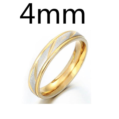Lover Wave Couple Gold 4mm Stainless Steel Rings - Thebuyspot.com